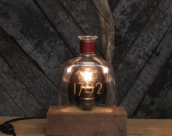 Handmade Recycled 1792 Bourbon Bottle Lamp - Features Reclaimed Wood Base, Edison Bulb, Twisted Cloth Wire, In line Switch, And Plug