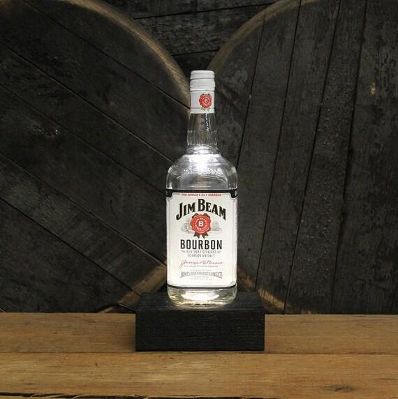 jim beam bourbon flasche lampe zur ckgefordert holz basis. Black Bedroom Furniture Sets. Home Design Ideas