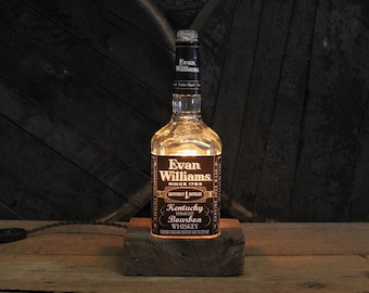 Evan Williams Bourbon Bottle Lamp - Features Reclaimed Wood Base, Edison Bulb, Twisted Cloth Wire, In line Switch, And Plug, Handmade Light