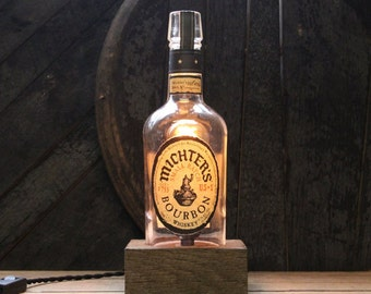 Handmade Recycled Michter's Bourbon Bottle Lamp - Features Reclaimed Wood Base, Edison Bulb, Twisted Cloth Wire, In line Switch, And Plug