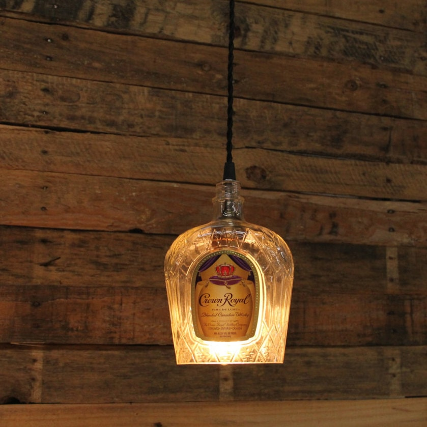 Crown Royal Whiskey Pendant Light Upcycled Industrial