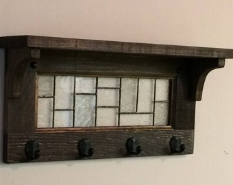 Coat racks with 4 hooks and shelf with stained glass