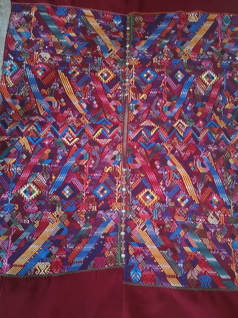 Handmade Vintage Guatemala Hand embroidery Huipil Chichi Top Blouse Poncho Stunning piece of Art