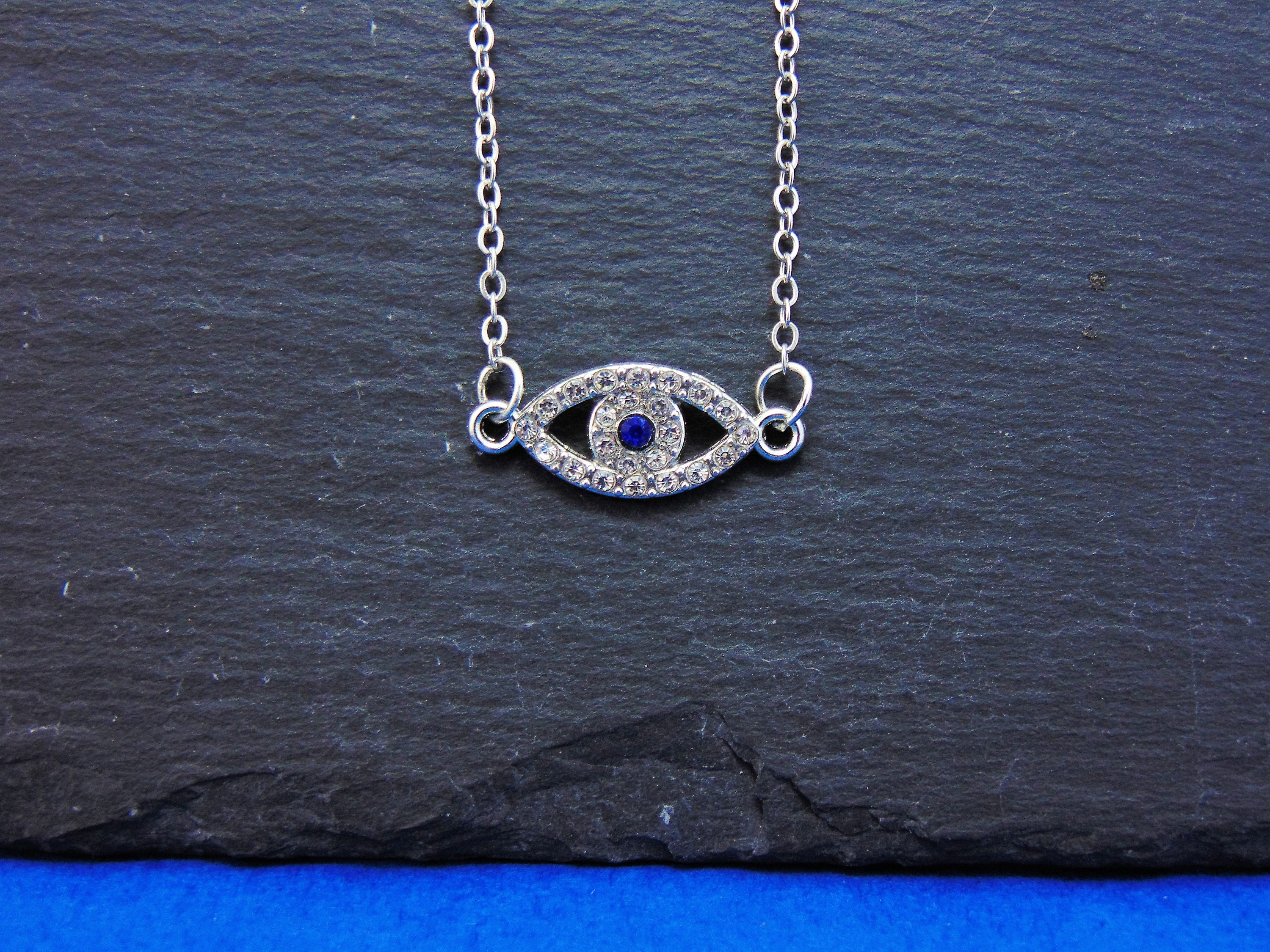 Crystal Blue Eye Chain Necklace Blue And Silver Sparkly Etsy