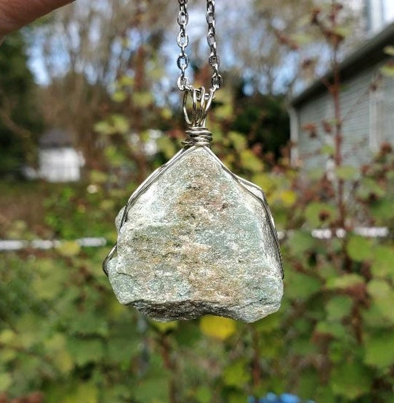 Green Aventurine Wire Wrapped Necklace  Natural Rough Raw Green Aventurine Stone Pendant  Wirewrapped Crystal Jewelry  Wire Wrap