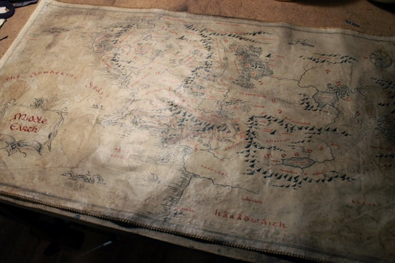 Middle Earth Map Large.No 2 Large Handdrawn Realistic Middle Earth Map Red Etsy
