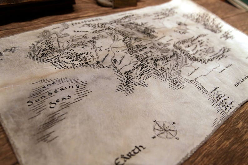 Mittelerde Karte Komplett.Echtes Pergament Mittelerde Karte Handgemachte Handgezeichneten Pergament Handschrift Kalbsleder