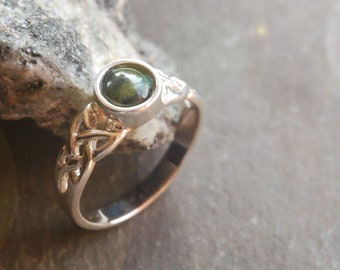 Sterling silver celtic ring with 6mm centre from Connemara marble. Available in different sizes  - Gift boxed.  Made and posted from Ireland