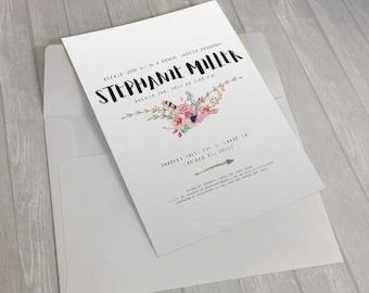 Tribal Flowers Invitation Design