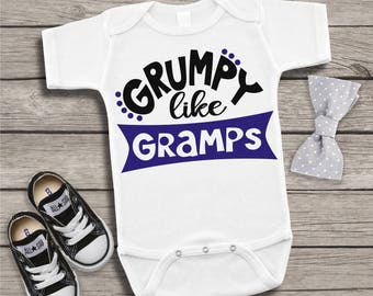 1107ee7af Grumpy Like Gramps Newborn Baby Infant Bodysuit Creeper Toddler Shirt Tee  Funny Baby Shower Gift Idea Birthday Present Grandparent Nickname