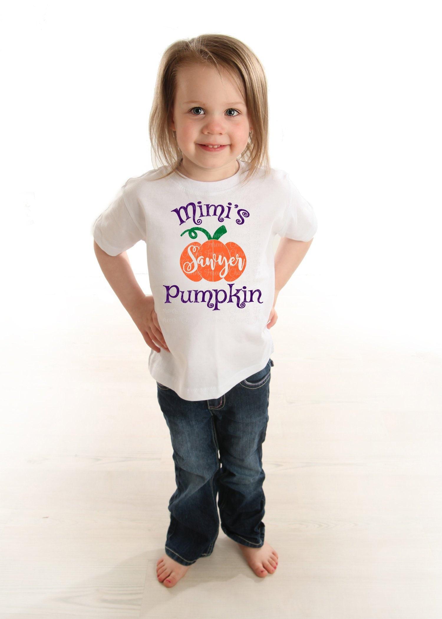 Personalised Pumpkin Halloween Girls Children/'s Kids T-Shirt