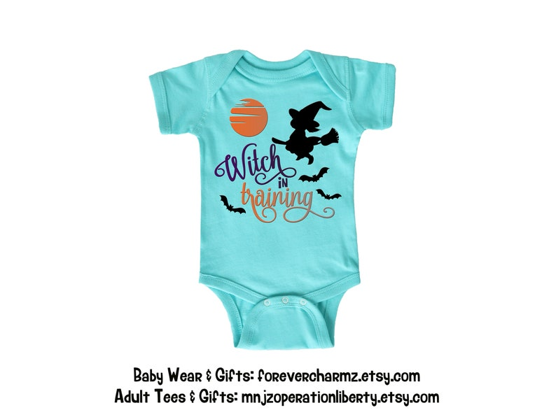 Girls Halloween White One Piece Baby Bodysuit with Cute Witch and Witch In Training Holiday Sale Infant Romper Bodysuits