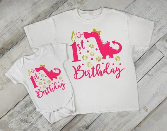 1st Birthday Girl Dragon First Baby Bodysuit Creeper Romper  431841bfc104