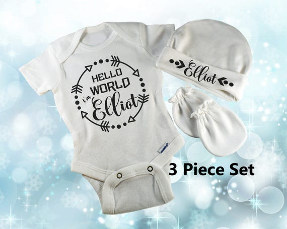 Hello World Personalized Name Newborn Cap Hat Mitten Bodysuit  65c68dfda8b6