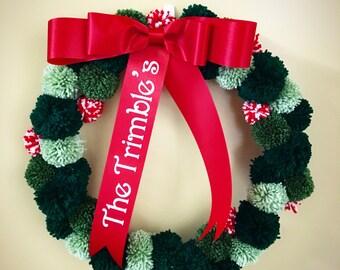 Cristmas Pom Pom Wreath or Door Hanger
