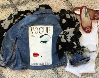 Hand painted denim jacket, vintage Vogue, upcycled denim jacket