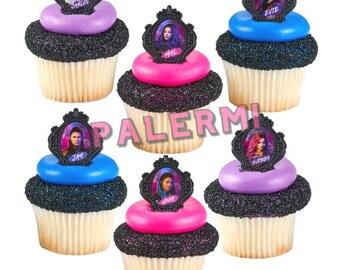 Disney Descendants Cupcake Topper Rings, Descendants Cupcake Topper