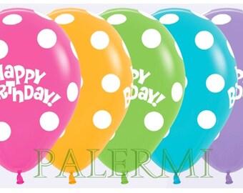 10x Polka Dot Balloons, Polka dot Balloons Latex, Polka Dot Birthday Balloons, Happy Birthday Polka Dots Balloons