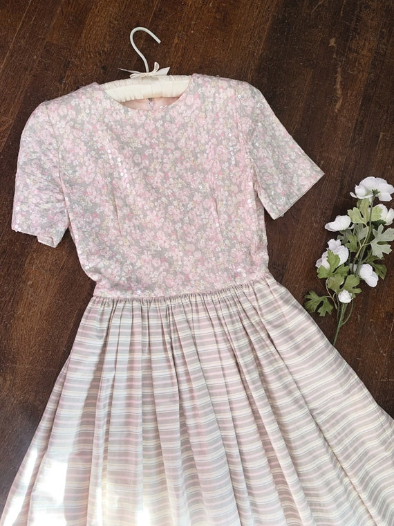 Vintage 1980s Sequin and Cotton Garden Party Dress