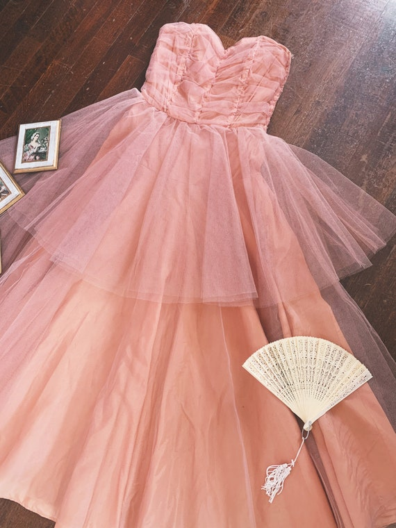 Vintage 1950s Peach Tulle Prom Dress size S