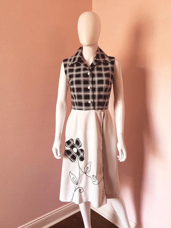 Vintage 1970s Plaid Floral Skater Dress size M-L