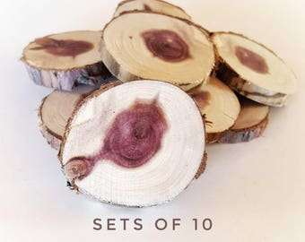 """Small wood rounds, 2"""" Red heart cedar tree slices, wooden magnet rounds, bulk set, raw material, DIY craft, wedding, ornaments, IN-STOCK"""