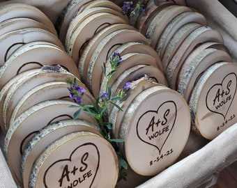 Bulk-Rustic Wedding Favors, heart with initials, Custom Wood burned coasters, Personalized wooden Coasters, personalized wedding favors