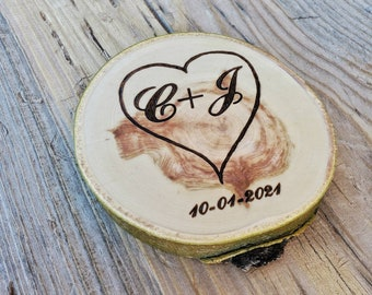 Personalized wooden coasters, Engagement gift, heart with initials, rustic wedding gift, Custom designed set of coasters, Anniversary gift