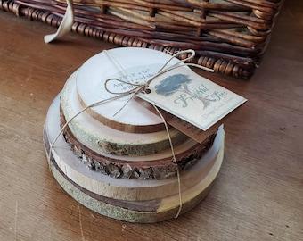 Wood Slice Samples, Blank Wood Rounds, DIY Wood Coaster, Wooden round ornaments, DIY Wedding Favors, wood disks, Live Edge Tree Cookies
