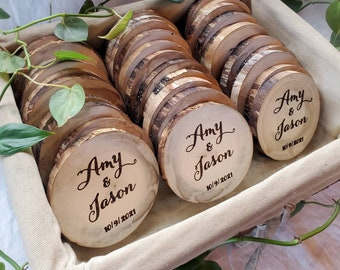 Bulk-Engraved Wedding Favors, Personalized Wooden Coasters, Bulk Party Favors, Engraved coasters, Rustic wedding décor, gifts for guests