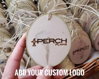 Bulk-Custom Logo Ornaments, Custom Designed Wood Ornaments, Engraved Company logo, Personalized Party favors, small Wood Christmas Ornaments