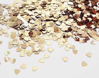 Golden Heart Shape Glitter, 3mm, Golden Sand Color Solvent Resistant Glitter