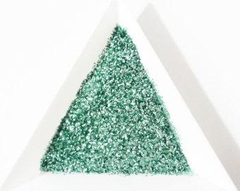 "Seafoam Pearl Mint Loose Glitter, .015"" Hex, Solvent Resistant Glitter"