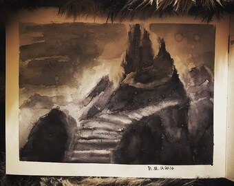 Castle in the Underworld Watercolor
