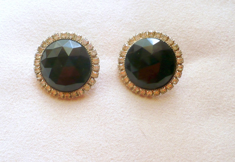 Vintage Black Round Earrings With Clear Rhinestones image 0