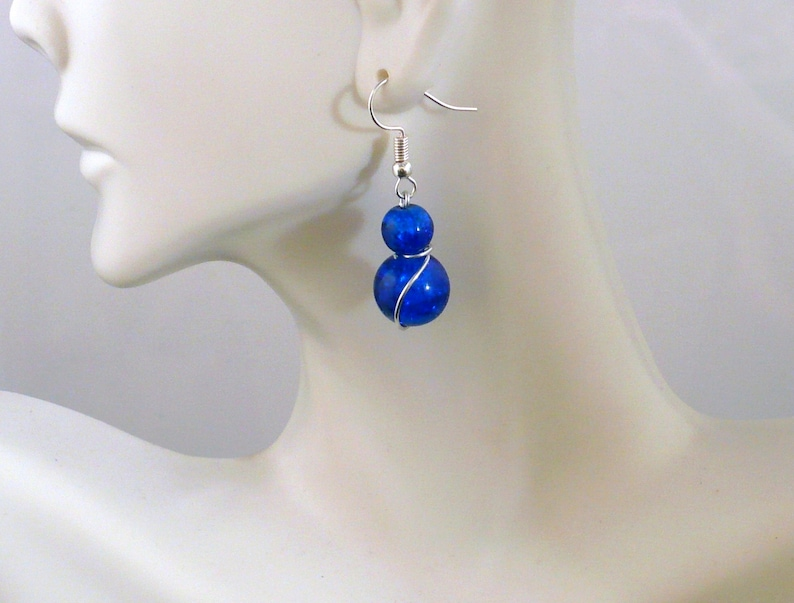 Royal Blue Dangle Earring Handcrafted Artisan Wire Wrapped image 0
