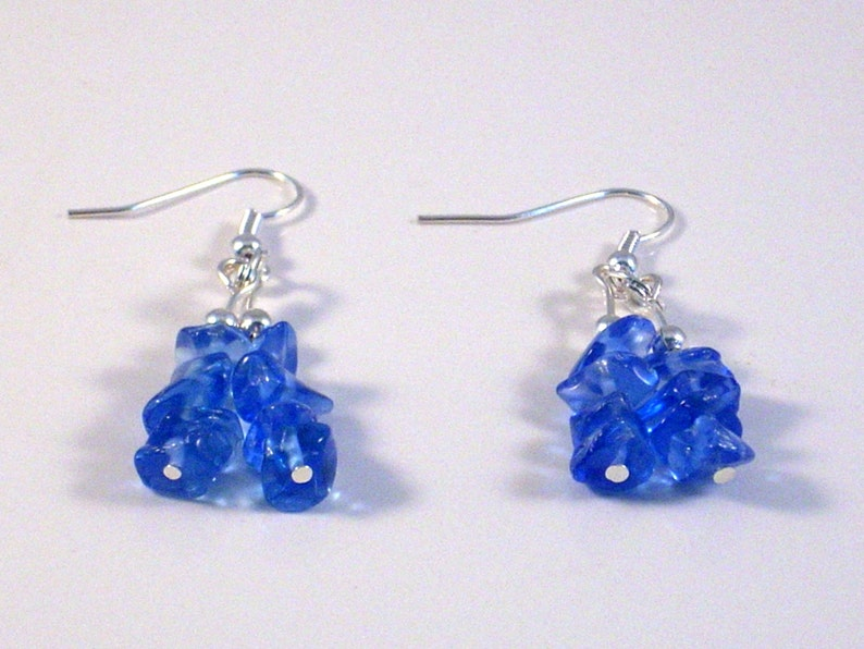 Sapphire Blue Dangle Earrings Wire Wrapped Handcrafted image 0