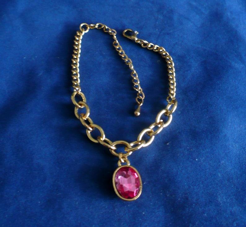 Gold-tone Bracelet Ankle or Boot Bracelet Pink 3/4 image 0