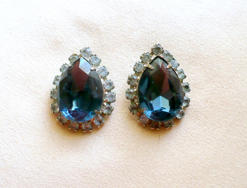 Antique Retro Blue Tear Drop Earrings With Rhinestones image 0