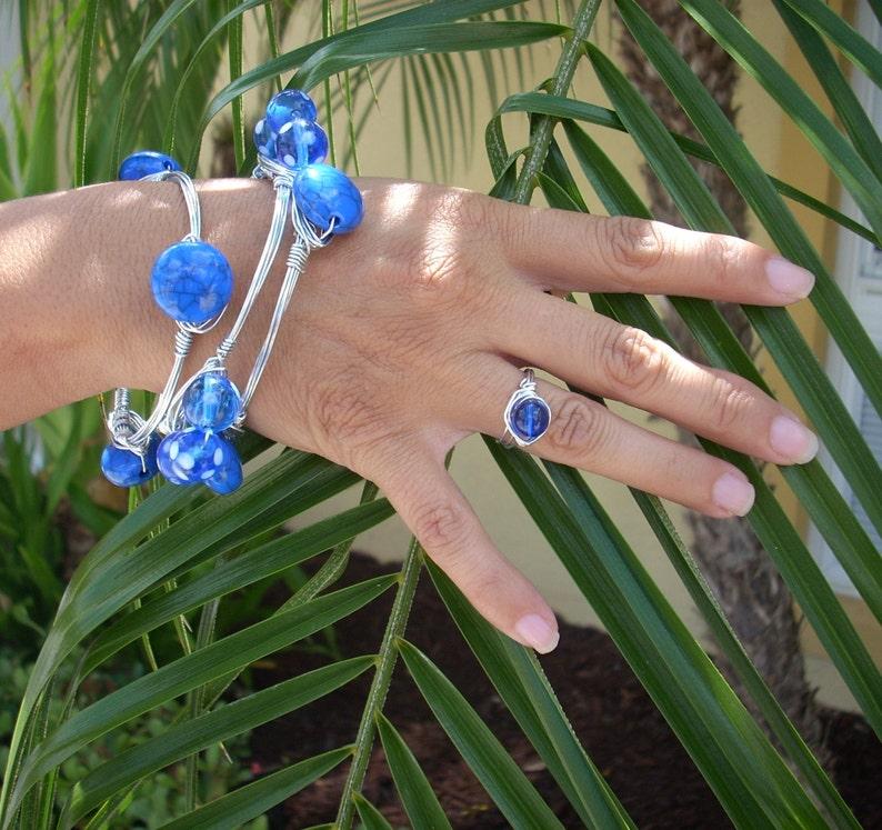 3 Handmade Artisan Bangle Bracelets Wire Wrapped Blue Beads image 0