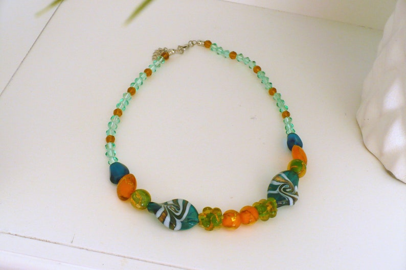 Artisan Necklace Lampwork Glass Tropical One of a Kind image 0