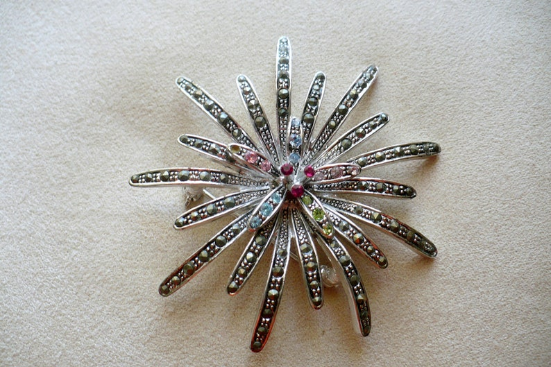 Show stopper Vintage Pedal Silver tone Brooch Multi-colored image 0