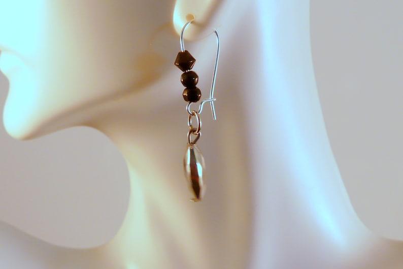 Silver-tone Black Beaded Dangle Drop Earrings Designs by Suni image 0