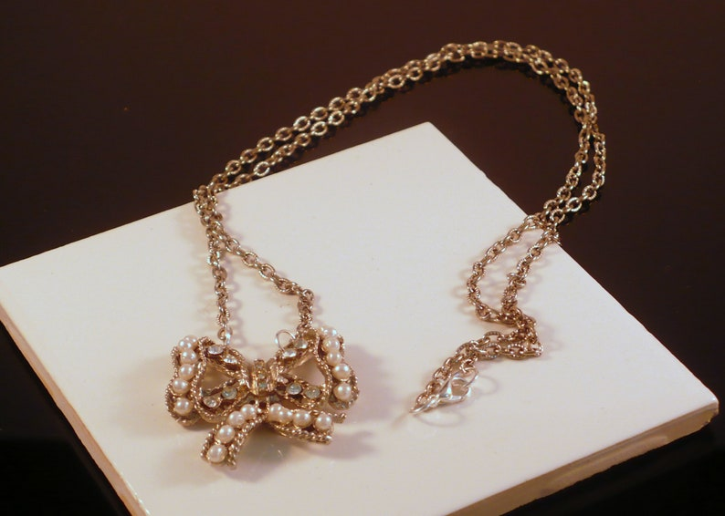 Vintage Reconstructed Necklace Butterfly Pendant Rhinestone & image 0