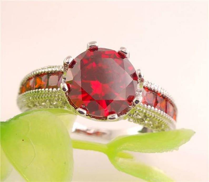 Brilliant Red Garnet Gemstone Ring  925 Silver Sterling Silver image 0