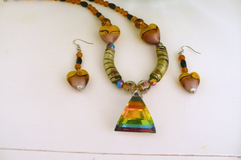 Artisan Necklace & Earrings Lamp-work Glass Tropical One of a image 0