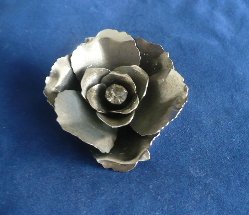 Vintage 1960's Metal Flower Brooch With Rhinestone Center image 0
