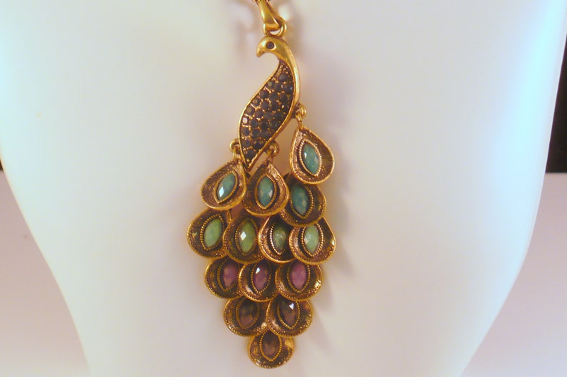 Vintage Blue Rhinestone Peacock Pendant Brass Necklace with image 0