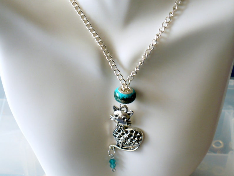Cat Charm Necklace Handmade Silver Kitty Charm & Teal image 0