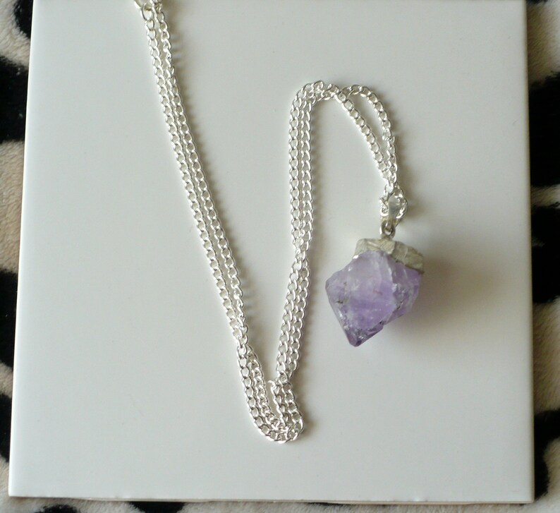 Raw Amethyst Gemstone & Silver Pendant Necklace With Silver image 0
